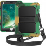 Shockproof PC + Silica Gel Protective Case for iPad 9.7 (2018), with Holder & Shoulder Strap (Camouflage)