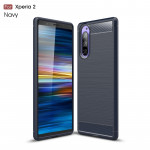 Brushed Texture Carbon Fiber TPU Case for Sony Xperia 2(Navy Blue)
