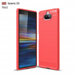 Brushed Texture Carbon Fiber TPU Case for Sony Xperia 20(Red)