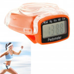 3D Heart Style Crystal Cover Digital Pedometer, Step Counter / Distance Travelled / Calorie Calculator(Orange)