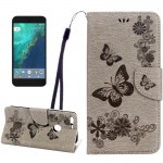 For Google Pixel Butterflies Embossing Horizontal Flip Leather Case with Holder & Card Slots & Wallet & Lanyard(Grey)
