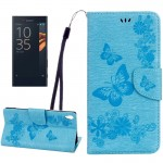 For Sony Xperia XA Ultra Butterflies Embossing Horizontal Flip Leather Case with Holder & Card Slots & Wallet & Lanyard(Blue)