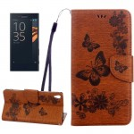 For Sony Xperia XA Ultra Butterflies Embossing Horizontal Flip Leather Case with Holder & Card Slots & Wallet & Lanyard(Brown)