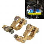 2 PCS Brass Positive and Nagative Car Battery Connectors Terminals Clamps Clips, Inner Diameter: 1.2cm