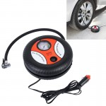 12V 10A Tire Shape Air Pump with Gauge and Three Nozzle Adapters Tire Inflator Compressor for Cars Vans Air Mattress Balls 250 P