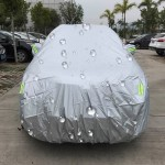 PEVA Anti-Dust Waterproof Sunproof SUV Car Cover with Warning Strips, Fits Cars up to 4.8m(187 Inches) In Length