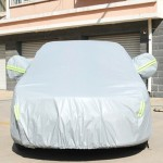 PVC Anti-Dust Sunproof Sedan Car Cover with Warning Strips, Fits Cars up to 4.9m(191 Inches) In Length