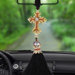 Lovely Ornaments Metal Flower Crystal Style Hanging Decoration For Car And Household (Gold)