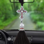 Lovely Ornaments Metal Flower Crystal Style Hanging Decoration For Car And Household (Silver)