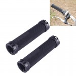 OQSPORT 2 PCS Bike Hand Grips Bilateral Lock Straight Barrel MTB Bicycle Anti-slip Handlebar Grips (Black)