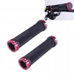 OQSPORT 2 PCS Bike Hand Grips Bilateral Lock Straight Barrel MTB Bicycle Anti-slip Handlebar Grips (Wind Red)