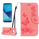 For Samsung Galaxy S8 Butterflies Embossing Horizontal Flip Leather Case with Holder & Card Slots & Wallet & Lanyard(Pink)
