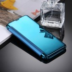 For Samsung Galaxy S8 / G9500 Electroplating Mirror Horizontal Flip Leather Case with Sleep / Wake-up Function(Blue)