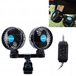 HUXIN HX-T605 7W 360 Degree Adjustable Rotation Clip Two Head Low Noise Mini Electric Car Fan with Gear Switch, DC12V