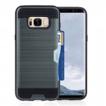 For Samsung Galaxy S8 + / G9550 with credit card slot holder TPU+PC mobile phone covers(Dark Blue)