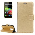 For Wiko Upluse lite Litchi Texture Horizontal Flip Leather Case with Holder & Card Slots & Wallet (Gold)