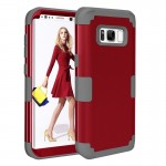 For Samsung Galaxy S8 + / G9550 Dropproof 3 in 1 Silicone sleeve for mobile phone(Red)