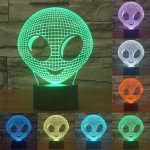 Alien Style USB Charging 7 Colour Discoloration Creative Visual Stereo Lamp 3D Touch Switch Control LED Light Desk Lamp Night Li