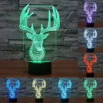 Elaphurus Davidianus Style USB Charging 7 Colour Discoloration Creative Visual Stereo Lamp 3D Touch Switch Control LED Light Des