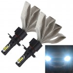 2 PCS S7 H4 40W 3200 LM 6000K IP68 Car Headlight with 2 COB Lamps and Heat Dissipation Cable, DC 9-30V(White Light)