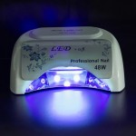 48W UV + LED Automatic Sensor Nail Lamp Fingernail Gel Curing Dryer with Display, AC 100-240V(White)