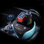 HSC YC-19D Car Cup Charger 2.1A/1A Dual USB Ports Car 12V-24V Charger with 2-Socket Cigarette, Card Socket and LED Display(Blue)