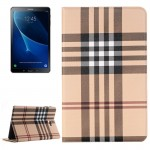 For Samsung Galaxy Tab A 10.1 / T580 Lattice Stripes Texture Horizontal Flip Leather Case with Holder & Card Slots & Wallet(Brow