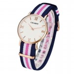 CAGARNY 6813 Fashionable Ultra Thin Rose Gold Case Quartz Wrist Watch with 5 Stripes Nylon Band for Women(Pink)