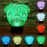 Dog Shape USB Charging 7 Colour Discoloration Creative Visual Stereo Lamp 3D Touch Switch Control LED Light Desk Lamp Night Ligh