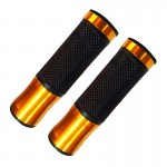 2 PCS Motorcycle Universal Net Texture Metal Right Handle Bar Grips with Rubber Cover (Orange)