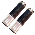 2 PCS Motorcycle Universal Net Texture Metal Right Handle Bar Grips with Rubber Cover (Silver)