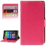Crazy Horse Texture Flip Leather Case with Credit Card Slots & Holder for Nokia X (Magnta)