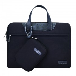 Sacoche pour ordinateur portable noir MacBook, Lenovo et autres ordinateurs portables, Taille interne: 35.0x24.0x3.0cm 15,4 pouces Business Series Exquisite Zipper Handheld Laptop Bag avec bloc d'alimentation indépendant