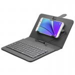 ENKAY Wired Keyboard Leather Protective Case with Holder for Android Tablet / Android Mobile Phone(Black)