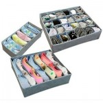 3 pcs Foldable Box / Bamboo Charcoal Fibre Storage Bag for Bra,Underwear,Necktie,Socks