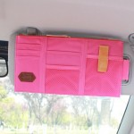 Muti-functional Auto Car Sun Visor Sunglass Holder Card Storage Holder Inner Pouch Bag (Pink)