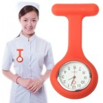 Portable Silicone Nurse Round Quartz Wristwatch Watch with Pin (Red)