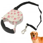 Pink Dog Footprint Pattern Easy Operation Retractable Dog Leash
