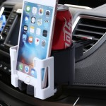 SHUNWEI SD-1026 Car Auto Multi-functional ABS Air Vent Drink Holder Bottle Cup Holder Phone Holder Mobile Mount(White)