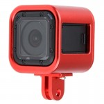 Housing Shell CNC Aluminum Alloy Protective Cage with Insurance Back Cover for GoPro HERO4 Session(Red)