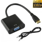 Full HD 1080P Mini HDMI Male to VGA Female Video Adapter Cable with Audio Cable, Length: 22cm (Black)