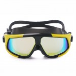 Colorful Large Frame Electroplating Anti-fog Silicone Swimming Goggles for Adults (Yellow + Black)