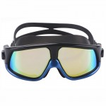 Colorful Large Frame Electroplating Anti-fog Silicone Swimming Goggles for Adults (Blue + Black)