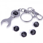 Tire Valve Caps 4 pcs with Wrench Keychain(Silver)