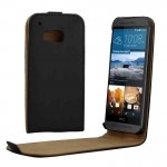 For HTC One M9 Vertical Flip Magnetic Button Leather Case
