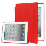 4-folding Slim Smart Cover Leather Case with Holder & Sleep / Wake-up Function for iPad 4 / New iPad (iPad 3) / iPad 2(Red)
