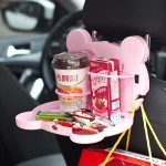 Cartoon Style Foldable Back Car Seat Drink Holder Back Seat Food Tray Storage Organizer Table(Pink)