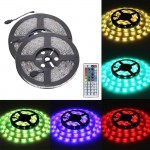 2 PCS Epoxy Waterproof 5050 SMD RGB LED Light Strip with Supply Power & Control Remote, 30 LED/m, 12V Length: 5m