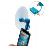 Fashion 8pin & Micro USB Ports Mini Fan with Two Leaves for Mobile Phone with OTG Function(Blue)