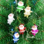 6 PCS Christmas Tree Decoration Colorful Santa Claus Hang Ornament with Lanyard, Random Color Delivery
